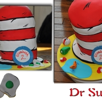 Dr Seuss cake covered in Satin Ice Fond. All decerations made with Fond. Hand painted details.