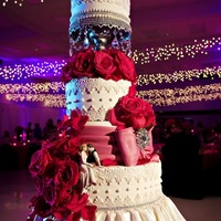 Red And White Wedding Cake Lace And Drapes The Cake Zone Florida