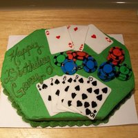 Poker Birthday Cake Done for my fiance. My first time I used fondant on anything. Cards and poker chips made out of fondant. The black on the poker chips was...
