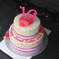 Sweet 16 I made this cake for my daughter's friend. All BC with gumpaste number 16. Bottom tier is vanilla (colored pink) with Bavarian cream...