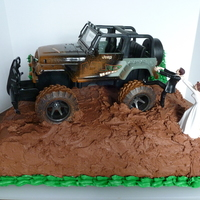 Chocolate Groom's Cake W/jeep Cake is chocolate with chocolate buttercream icing.