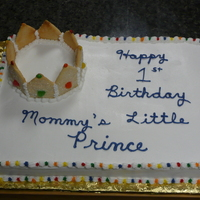 Happy Birthday, My Little Prince Sugar cookies were cut then baked with gum drops to form the crown.