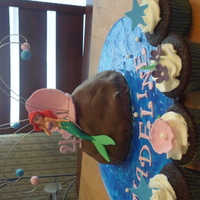 Little Mermaid Cake Mermaid is a toy provided by customer, rock is shaped from the Wonder Mold , water is Wiltons sparkle gel, cupcaked decorated with BC and...
