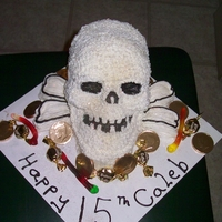 15Th Birthday Cake all buttercream. Skull cake for boy 15th Bday. Added candies for fun!