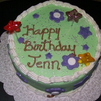 Starflower Bday Cake lemon cake. fondant cover and accents. twinklestars stuck in for accents.