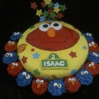 Elmo Birthday Cake Single tier double layer 12 inch round frosted & fondant.All decorations made of fondant,cupcakes frosted w/star tip.
