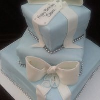 Tiffany Gift Box Cakes. 3 tier square cakes all frosted & fondant covered,bows made of fondant.
