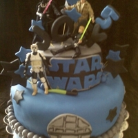 Star Wars Cake 2 tier cake figures not edible.