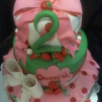 Straw Berry Short Cake Cake 3 tier cake all fondant decorated.