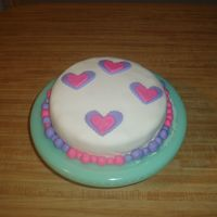 Pink & Purple Love This is my first ever cake made from scratch. Its a yellow cake with vanilla BC and fondant. The hearts are also made with fondant.