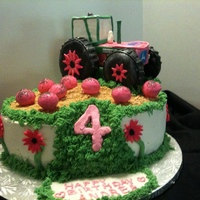John Deere Pink Tractor made of Rice KRispie Treats...tires are donuts covered in fondant. Vanilla cake with buttercream. Crops are cake pops. Dirt is...