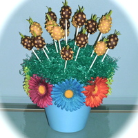Pineapple Cake Pop Bouquet Chocolate and Peanut Butter pineapple shaped cake pops for my daughter's class luau!