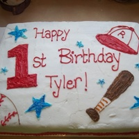1St Birhday Baseball Cake 1/2 Sheet cake with buttercream icing