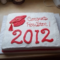 Houston's Graduation !/2 sheet cake, buttercream icing