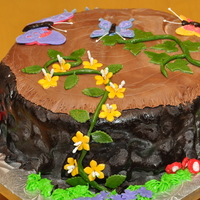 Fairy Tea Party Birthday Cake The mom of a 5 year old girl asked me to make a tree stump cake with butterflies and flowers, for her daughter's party theme of a...