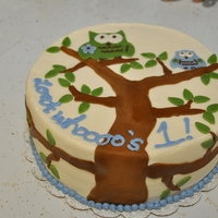Look Whooo's 1! Dairy-free owl cake for a 1 year old boy.