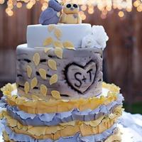 "Aspen Tree With Ruffles And Owls 3 tier wedding cake with fondant ruffles on the bottom tier, quaking aspen tree with bride and grooms initials ""carved"" into the..."