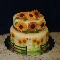 Sunflower Bridal Shower Cake Two tier bridal shower cake, for country themed wedding, 10inch and 8 inch round, covered in fondant that I hand painted, flowers are...