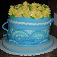 Flower Pot And Roses Fondant everything! Mosaic tile technique (idea from a book called Cakes to Inspire and Desire)