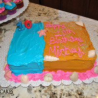 Beach Cake   Marble cake, buttercream, Chocolate shells with luster dust.