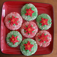 Poinsettia Cookies These are sour cream sugar cookies with colored sugar. The poinsettia is BC. Very easy to make and my first time making the poinsettia. TFL...