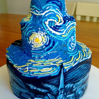 Stephanie's Starry Night Stephanie's 16th Starry Night Red velvet cake w/ cream cheese frosting. Fondant is hand painted.