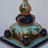 The Firebird Russian Themed wedding cake. Bas Relief panels tell the story of Ivan Tsarevich, the Firebird and the Grey Wolf.