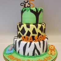 Zoo Theme Cake Monkey Lion Hippo   Zoo theme cake, monkey, lion, hippo