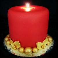 "Red & Gold Candle   Three 6"" cakes, stacked, and covered with fondant. The balls and leaves are gumpaste. The candle is an actual tealight candle."