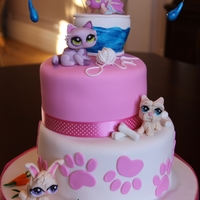 Littlest Pet Shop Cake A Littlest Pet Shop cake I made for my daughter's 8th birthday. All fondant Pet Shop figures and accessories for the pets.
