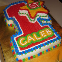1St Birthday Carved cake decorated in bc with star smash cake.