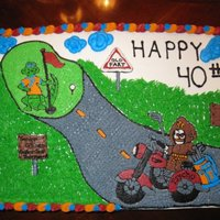 The Reaper Decorated in BC. Cake for Florida fan who loved to golf and his motorcycle.