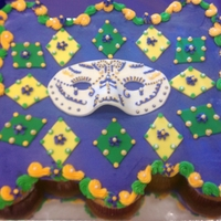 Mardi Gras   Cupcake cake decorated with buttercream, fondant accents, and gumpaste mask.