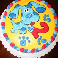 Blues Clues decorated in bc. Thought I had loaded this cake before but alot of my pics are missing so im reloading them. Made this cake about 5 years...