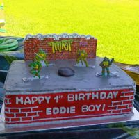 Tmnt Birthday Cake   2 layer CASC, white choc bavarian cream filling and WBH buttercream with purchased decopac.