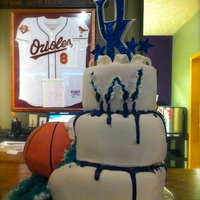"Kentucky Wildcats Basketball Cake Basketball Is Cake Inside Cake Is Bluew Scratched With Cats Claws Coming Out Bleeding Blue Top I Kentucky Wildcats Basketball Cake, basketball is cake, inside, cake is BLUE……""W"" scratched with cats claws..."