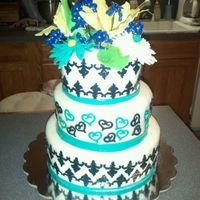 Black/white/aqua Wedding Black and aqua gum paste on white mmf. Trying to teach myself new stuff every time I do a new cake. Cut outs with my cricut cake machine...