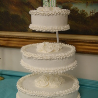 White Wedding Cake totally white with buttercream frosting