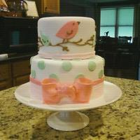 "Pottery Barn Nursery Pattern This cake was inspired by a nursery pattern from Pottery Barn. 6"" lemon pound stacked on an 8"" chocolate ameretto w/ chocolate..."