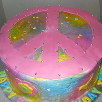 Peace Sign Tye Dye Butter Cream Icing Sprayed with Wilton Color Mist, Duff's Fondant Peace Sign, Flowers, Butterflies, and Letters