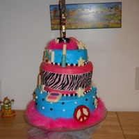 Loreli's Diva Rock Star Cake Three tier designed by my grand daughter for her 6th birthday. Bottom tier strawberry cake, top two are chocolate. All iced with...