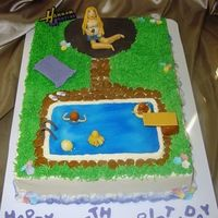 Hannah Montana Pool Party Birthday Cake Hannah Montana Pool Party Birthday Cake for my daughter's 5th birthday at the aquatic center in town. She had to have Hannah, so I...