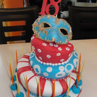 My Daughter's 18Th Birthday Topsy cake with mask all using fondant for my Daughter's 18th Birthday.