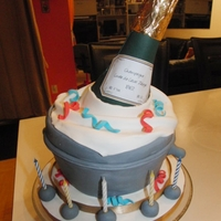 Champagne Bottle And Cake Make In Fondant.   My husband's birthday cake, champagne bottle and cake make in fondant.