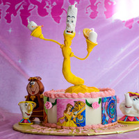 Beauty And The Beast Birthday Cake Beauty and the Beast cake - made with gumpaste and fondant. Painted three scenes on gumpaste sheets that were put around front of cakeMy...