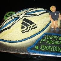 All Blacks Cake Made for my football mad 7 year old son. Replica All Blacks Rugby Ball and Zumba Logo in background