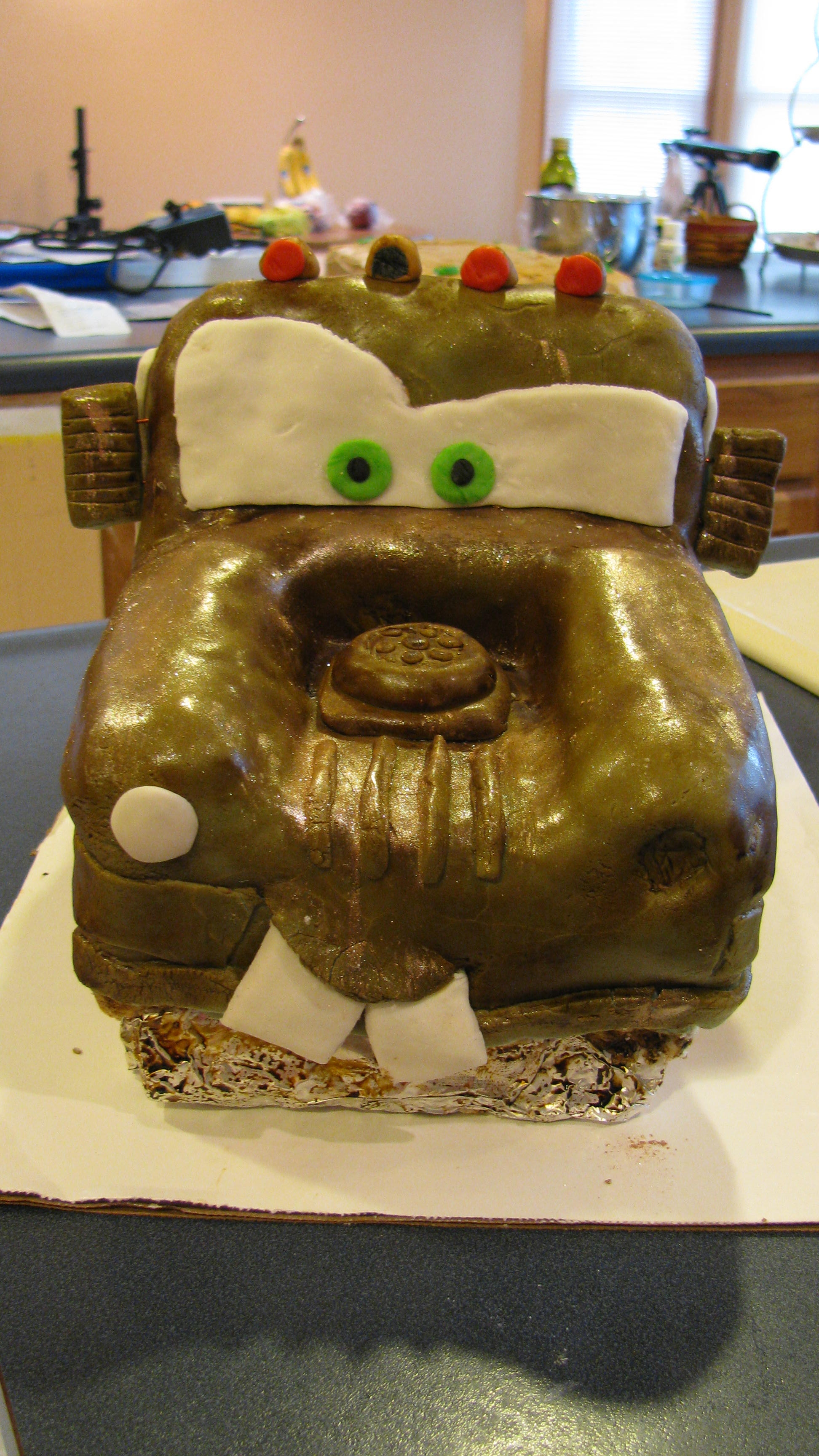 Tow Mater Bd Cake Mater is almond-vanilla cake with buttercream frosting & covered in fondant, the desert sheet cake is chocolate fudge with caramel...