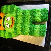 Brobee   I made this Brobee cake from 2 carved 9x13 sheet cakes and iced him in buttercream.
