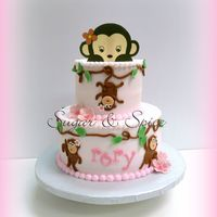 For A Monkey Themed Baby Shower Iced In Buttercream With Fondant Details For a monkey themed baby shower. Iced in buttercream with fondant details.