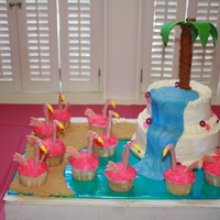 Flamingo Island Flamingo cupcakes were made using chocolate covered pretzel sticks for the neck, a pink jellybean for the head and half of a banana runt...